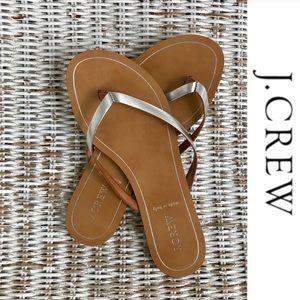 {J. CREW} Leather Capri Sandals w/ Silver Straps